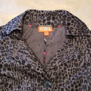 Kirna Zabete Jackets & Coats - Gray leopard cheetah trench coat jacket sz S